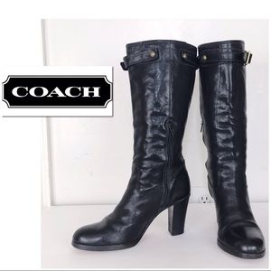 Coach Maxine Leather Heeled Riding Style Boots